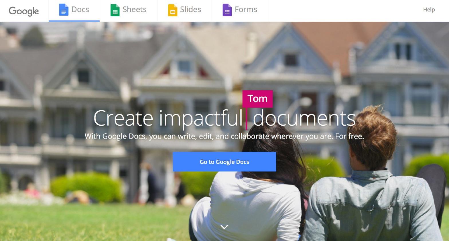 Google Docs Landing Page
