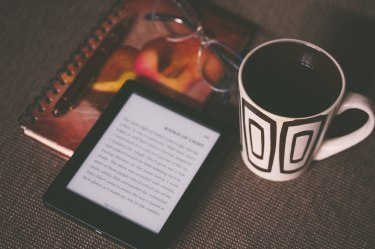 Drink, Kindle and Notebook