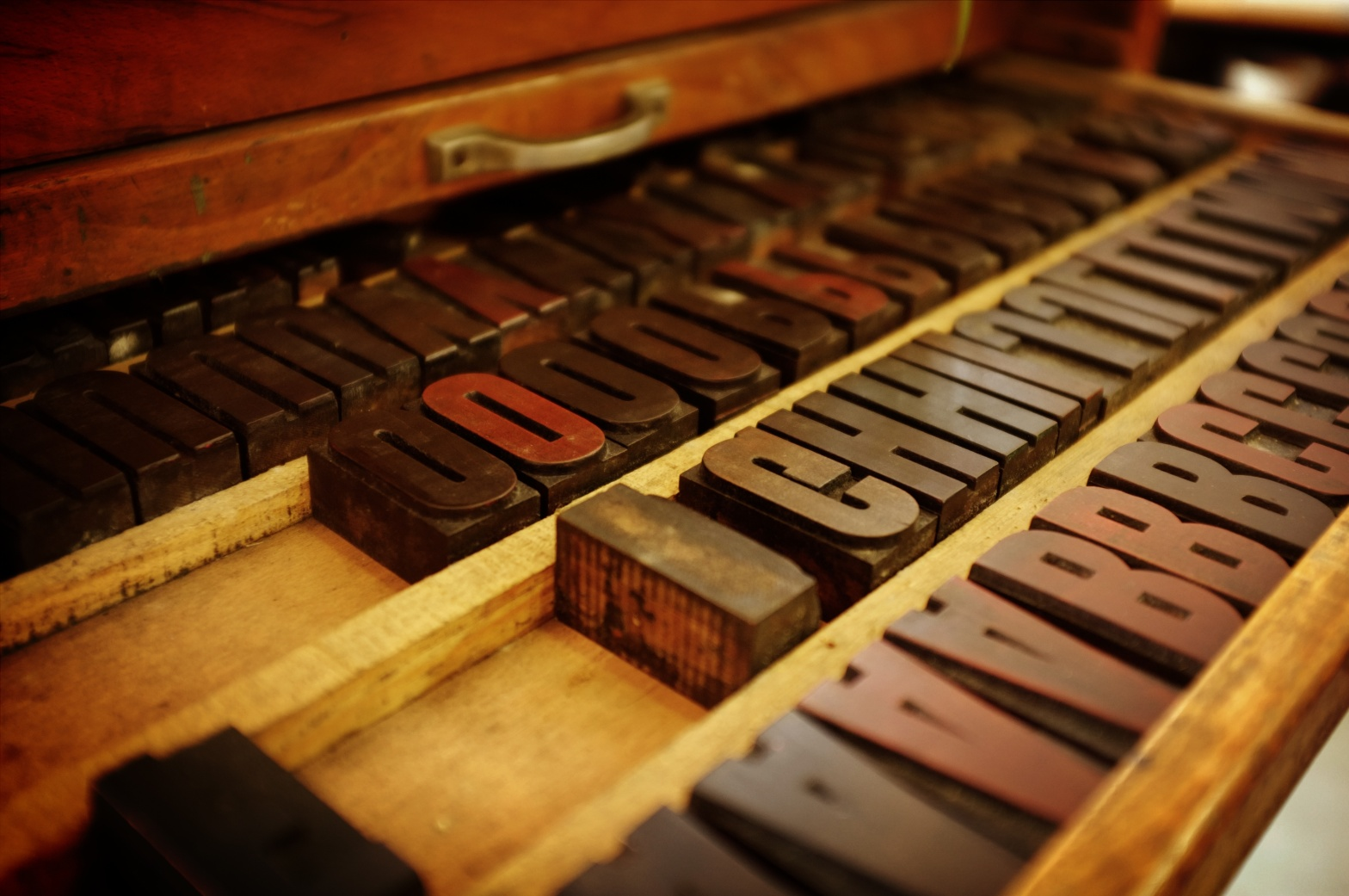 Letter blocks from a printing press