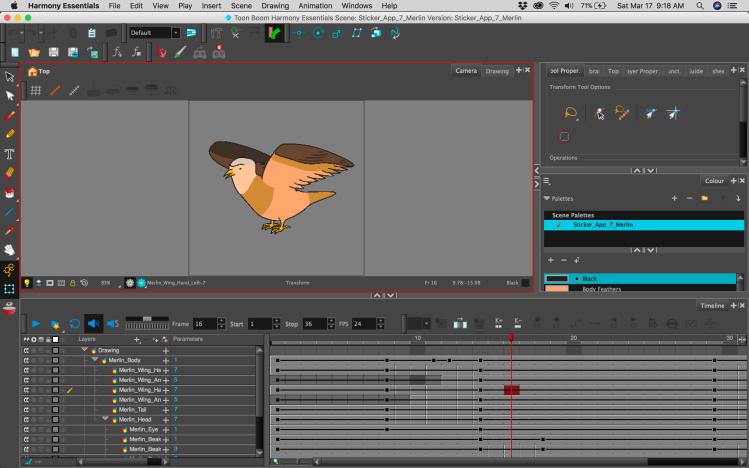 Toon Boom Harmony Screenshot Featuring a Merlin